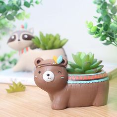 Our whimsical, Boho Animals Planter Pots are handcrafted with love. Perfect for air plants or succulents, these pretty pots are a sweet addition to any home decor and they're so adorable your kids are sure to love them too. Ceramic Animals, Ceramic Art, Diy Planters, Planter Pots, Planter Ideas, Pottery Painting Designs, Biscuit, Flower Pot Design, Indoor Plant Pots