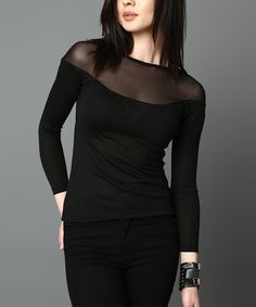 Look at this Du Jour Paris Black Sheer-Accent Top on #zulily today!