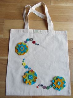 Canvas tote bag handmade  (Button flower) on Etsy, £12.00