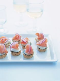 smoked salmon on herb frittatas from donna hay