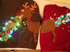 Ugly Christmas sweater, couple sweater, vomitting reindeer with lights by BurstCreationsStudio on Etsy