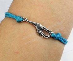 Silvery giraffe bracelet blue rope bracelet antique by handworld, $1.29