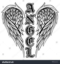 Illustration of Abstract vector illustration black and white wings and inscription angel in the Gothic style. Design for tattoo or print t-shirt . vector art, clipart and stock vectors. Feather Tattoo Design, Wing Tattoo Designs, Angel Tattoo Designs, Tribal Tattoos, Star Tattoos, Celtic Tattoos, Skull Tattoos, Foot Tattoos, Flower Tattoos