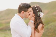 romantic engagement shoot in southern California featuring a beaded blush pink flower crown by Love Sparkle Pretty http://lovesparklepretty.com/blog/romantic-engagement-shoot-flower-crown. Photo by Kristen Booth. romantic kiss | bridal hair | engagement pose