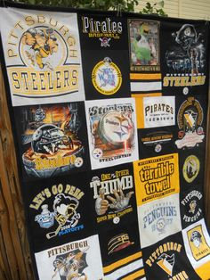 T Shirt Quilt for a Pittsburgh Steelers, Pirates and Penquins fan!