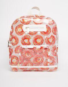 Skinnydip Clear Donut Backpack - On Asos Clear Backpacks, Cute Backpacks, Awesome Backpacks, Fashion Bags, Fashion Backpack, Womens Fashion, Backpack For Teens, Clear Bags, Cute Bags