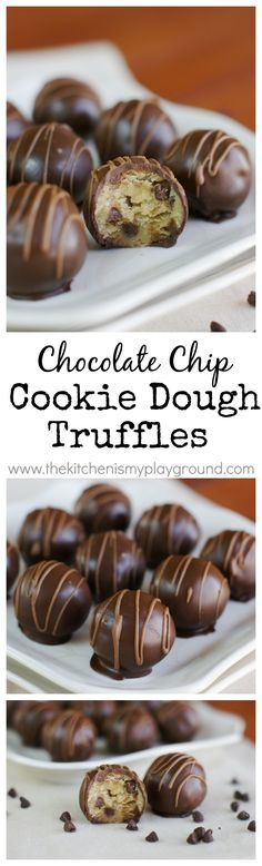 Chocolate Chip Cookie Dough Truffles {with egg-free cookie dough!} www.thekitchenismyplayground.com