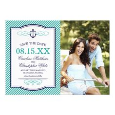 Navy and Teal Nautical Anchor Photo Save the Date Personalized Invites