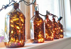 Artistic DIY Christmas Crafts for Christmas Home Makeover and Gifting Christmas Home, Christmas Lights, Christmas Crafts, Christmas Decorations, Christmas Ideas, Recycled Glass Bottles, Bottles And Jars, Mason Jars, Beer Bottle Lights