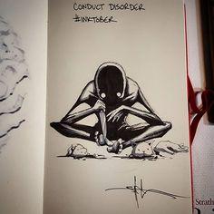 Shawn Coss Illustrates Mental Illness Part Deux! Creepy Drawings, Dark Art Drawings, Arte Horror, Horror Art, Dark Art Illustrations, Illustration Art, Heartbroken Drawings, Mental Health Art, Horror Drawing