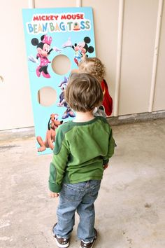 Mickey Mouse Clubhouse DIY Bean Bag Toss, Ohh I can paint the holes with mickey ears around them too!!