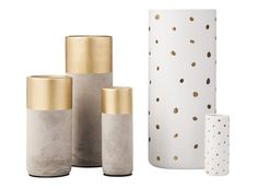 Pin for Later: See Target's Fab Fall Threshold Collection Before Anyone Else  Gold and cement vases ($10-$20) and gold-spotted stone vases ($7-$25)