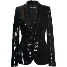 Dolce & Gabbana Paillette Evening Blazer ($4,995) ❤ liked on Polyvore featuring outerwear, jackets, blazers, blazer, suit, coats & jackets, black, special occasion jackets, tailored blazer and sequin blazer