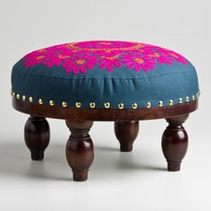Cost Plus World Market Round Embroidered Upholstery Footstool