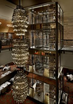 Del Frisco's of Chicago designed by  Aria Group Architects :: wine tower Bar Restaurant, Restaurant Design, Chinese Restaurant, Commercial Design, Commercial Interiors, Cafe Bar, Wine Tower, Bar A Vin, Bar Design Awards