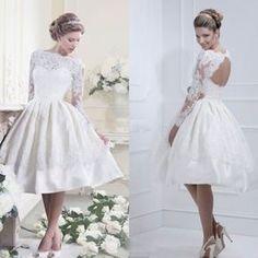 2014 New White Ivory Lace Long Sleeve Bride Short Wedding Dress Custom Size | eBay