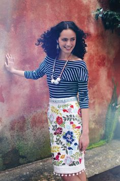 I have a fun embroidered floral pencil and a striped top. So crown heights!