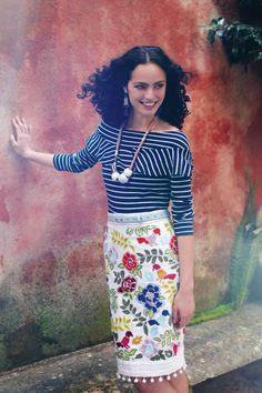 Bright on white skirt