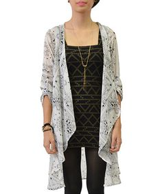 Look what I found on #zulily! Ivory & Black Tile Roll-Tab Open Cardigan by Potter's Pot #zulilyfinds