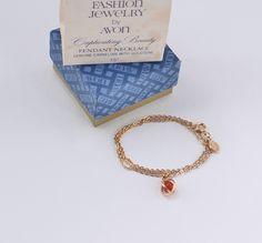 Vintage 1980 Avon Captivating Beauty Carnelian Red Gold Tone Gemstone Captive Stone Pendant Chain Choker Length Necklace Original Box NIB by ThePaisleyUnicorn on Etsy