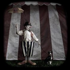 Circus clown with dog