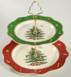 Your Favorite Brands Cookies for Santa 2 Tiered Serving Tray (Dinner & Salad Plate)