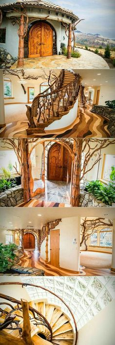 A breathtaking new home on the market looks like something straight out of a fantasy novel. Nestled in the foothills of Ashland Oregon the fairytale-like Shining Hand Ranch is a custom-built dwelling with a spacious treehouse-like interior and a riverin Geothermal Energy, Earth Homes, Natural Building, Green Building, Inspired Homes, My Dream Home, Dream Homes, Future House, Tiny House