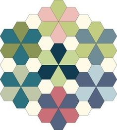 English Paper Piecing Hex and Half Hex Pattern from