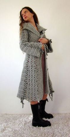 Hate everything about this pic, but done right the idea of a knitted coat really appeals Strickjacke Damen Candy crochet bow coat in grey with polymer clay buttons Cardigan Au Crochet, Crochet Jacket, Crochet Shawl, Knit Crochet, Irish Crochet, Poncho Scarf, Crochet Sweaters, Pull Crochet, Crochet Bows