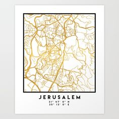 JERUSALEM ISRAEL PALESTINE CITY STREET MAP ART | An elegant city street map of Jerusalem, Israel in gold, with the exact coordinates of the city, make up this amazing art piece. A great gift for anybody that has love for this city. You can never go wrong with gold. I love my city.