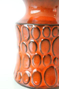 WEST GERMAN POTTERY Vase Jasba Burnt Orange Red by CurialVintage
