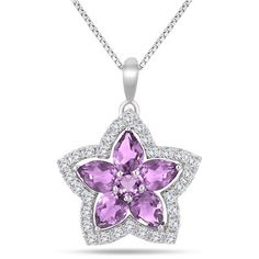 3.50 Carat Amethyst and White Topaz Flower Pendant in .925 Sterling Silver
