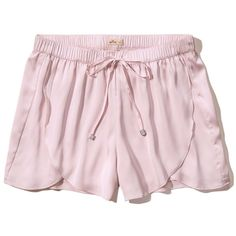 Hollister Satin Shorts ($15) ❤ liked on Polyvore featuring shorts, light pink, drawstring shorts, light pink shorts, drapey shorts, hollister co. shorts and draw string shorts