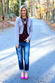 tweed // polka dots // boyfriend jeans #Gap #Hautelook