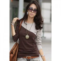 Slim Fit Scoop Neck Color Matching Long Sleeve Women's T-Shirt, COFFEE, ONE SIZE in Long Sleeves   DressLily.com