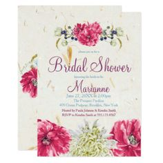 Fuschia and Ivory floral Bridal Shower Invitations