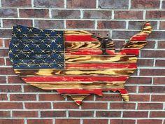 Rustic Engraved Wooded American Flag