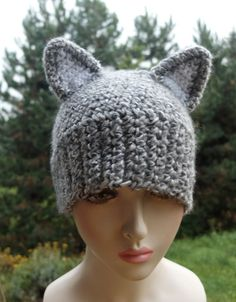 Ear Hats, Beanie Hats, Wolf Hat, Winter Wolves, Etsy Handmade, Handmade Gifts, Winter Accessories, Mittens, Gifts For Him