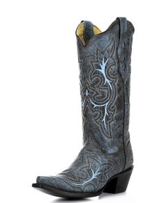 Stunning distressed leather and vibrant stitching make the Black-Grey/Turquoise Embroidery Boot by Corral a trend-setting style. Every detail in this boot is carefully applied by expert craftsmen. The leathers are distressed by hand to create a one-of-a-kind finish, and thick turquoise stitching makes for color-perfect contrast. On top of signature Corral style, this boot is handcrafted to high standards of quality.