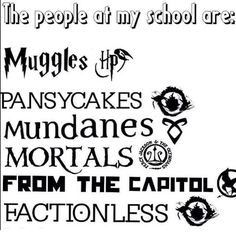 Harry Potter, Percy Jackson, The Mortal Instruments, Divergent, The Hunger Games