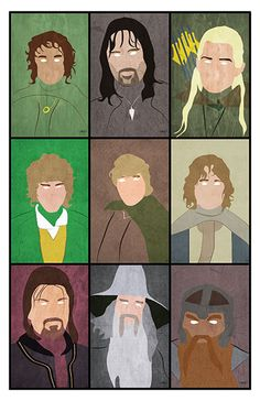 Lord of the Rings Art Print Minimalist Portraits