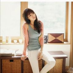 Fall or spring light cardigan Pink made if cotton Sweaters Cardigans