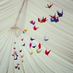 Origami birds. Wedding marquee decorations.