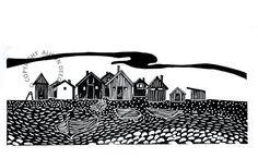 Original lino cut print, Fishing huts on Faro, by Alison Deegan via Folksy, £27.50