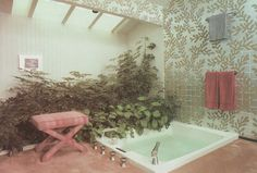 "palmandlaser: ""From Rodale's Home Design Series: Baths "" 80s Interior Design, Mid Century Interior Design, Mid-century Interior, Interior And Exterior, Bathroom Inspiration, Home Decor Inspiration, Funky Kitchen, Decor Pad, Funky Home Decor"