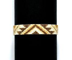 Bracelet perles Miyuki et apprêts plaqué or : Bracelet par la-ruche-creation