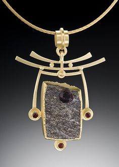 """Pagoda Pendant"".  Gold & Stone Necklace  Created by Ilene Schwartz.  One of a Kind."