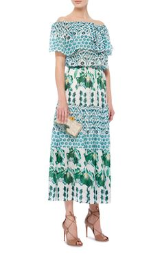 **Temperley London** dress features an off-the-shoulder ruffle bodice and a tiered mid-length skirt with an A-line waist.