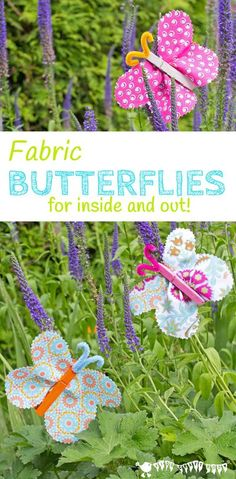 FABRIC CLOTHESPIN BUTTERFLY CRAFT is cute, colourful and easy. Beautiful DIY butterflies are a great Spring craft and Summer craft for kids to decorate the home and garden. #kidscraftroom #kidscrafts #springcrafts #summercrafts #butterflies #butterflycrafts #craftsforkids #butterfly #clothespin #clothespincrafts