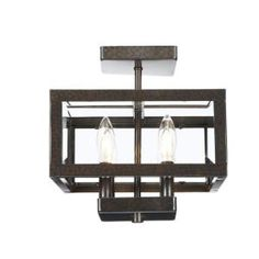 Hampton Bay, 4-Light Oxide Brass Semi-Flush Mount Light with Tallarook Panel Glass Shade, EC3788OBP at The Home Depot - Mobile
